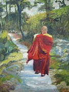 Buddhist Monk Paintings - Kora by Holly Stone