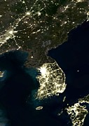 Urban City Areas Photos - Korea At Night, Satellite Image by Planetobserver