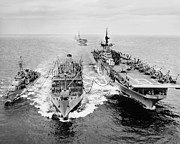 Fighter Plane Photos - Korean War: Ship Refueling by Granger