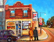 Montreal Landmarks Paintings - Kosher Bakery On Hutchison by Carole Spandau