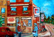 Montreal Landmarks Paintings - Kosher Bakery On Hutchison Street by Carole Spandau