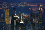 Kowloon Photo Posters - Kowloon skyline and Victoria Harbour at dusk Poster by Sami Sarkis
