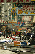 Kowloon Photo Posters - Kowloon Street With Workers Setting Poster by Justin Guariglia