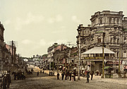 Kiev Framed Prints - Krestchatik Street in Kiev - Ukraine - ca 1900 Framed Print by International Images