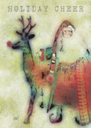 Holiday Card Digital Art Prints - Kris And Rudolph Print by Arline Wagner
