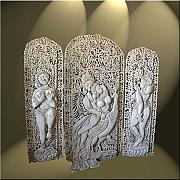 Wall Sculpture Reliefs - Krishna and Radha by Petra Voegtle