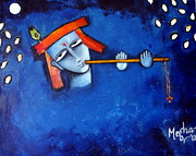 Modern Radha Krishna Paintings - Krishna Blue I by Megha Nema