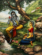 Full Moon Paintings - Krishna with Radha by Vrindavan Das