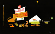 Donuts Painting Posters - Krispy Kreme at night Poster by Tommy Midyette