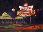 Donuts Painting Posters - Krispy Kreme Night Poster by Isabel Forbes