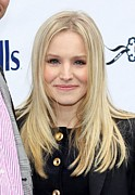 Hair Parted In The Middle Framed Prints - Kristen Bell At A Public Appearance Framed Print by Everett