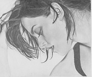 Stewart Drawings Posters - Kristen Stewart Poster by Maria Johnson