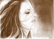 Eclipse Drawings - Kristen Stewart - sepia by Crystal Rosene