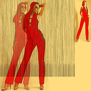 Colorful Woman Posters - Kristine in Red Poster by Irina  March