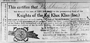 Racism Prints - Ku Klux Klan Certificate Of Membership Print by Everett