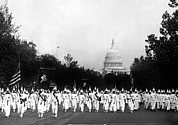 Capitol Building Framed Prints - Ku Klux Klan Parading In Washington Framed Print by Everett