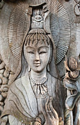 Old Pyrography Acrylic Prints - Kuan Yin  Acrylic Print by Apatsara Sirirodchanapanya