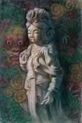 Buddha Goddess Framed Prints - Kuan Yin Dragon Framed Print by Sue Halstenberg