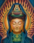 Kwan Yin Framed Prints - Kuan Yin Flame Framed Print by Sue Halstenberg