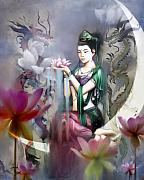 Woman Mixed Media Framed Prints - Kuan Yin Lotus of Healing Framed Print by Stephen Lucas