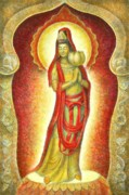 Buddha Goddess Prints - Kuan Yin Lotus Print by Sue Halstenberg