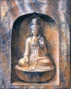 Meditation Paintings - Kuan Yin Meditating by Sue Halstenberg