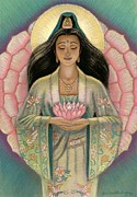 Spiritual Art Pastels Framed Prints - Kuan Yin Pink Lotus Heart Framed Print by Sue Halstenberg