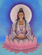 Mystical Painting Framed Prints - Kuan Yin Framed Print by Sue Halstenberg