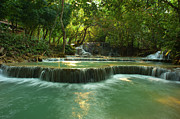 Waterfall Photography Posters - Kuang Si Waterfalls Poster by Kooi Cia