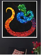 Sculptures Mixed Media Framed Prints - KUKULKAN - hanging Framed Print by Mitza Hurst