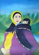 Pahari Paintings - Kulluvi Lady With Child by Sumit  Chauhan