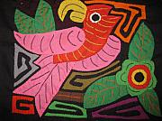 Artist Tapestries - Textiles Originals - Kuna Bird Molita Mola by the Kuna Indians of San Blas Panama by Rita  Smith