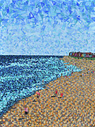 North Carolina Paintings - Kure Beach - A View from the Pier by Micah Mullen