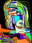 Guitar Painting Originals - Kurt Cobain Abstract by C Baum