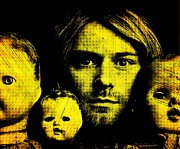 Print On Canvas Digital Art Framed Prints - Kurt Cobain Framed Print by Ankeeta Bansal