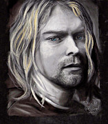 Roll Pastels Framed Prints - Kurt Cobain Framed Print by Dennis Jones
