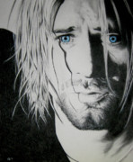 Nirvana Drawings - Kurt Cobain by Katia Zhukova