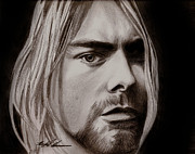 Photorealism Mixed Media Prints - Kurt Cobain Print by Michael Mestas