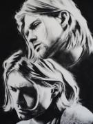 Singer Drawings - Kurt Cobain of Nirvana You Know Your Right by Carla Carson