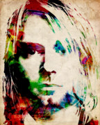 Celebrities Digital Art Prints - Kurt Cobain Urban Watercolor Print by Michael Tompsett
