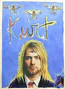 Rock Pastels Posters - Kurt Poster by Mike  Mitch