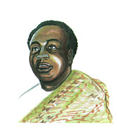 Leader Drawings Prints - Kwame Nkrumah Print by Emmanuel Baliyanga