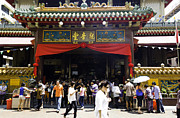 Tourists Framed Prints - Kwan Im Tong Hood Cho buddhist temple in the Bugis area in Singa Framed Print by Ashish Agarwal