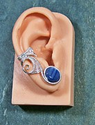 Wire-wrapped Jewelry Originals - Kyanite and Silver Lucky 7 Ear Cuff by Heather Jordan