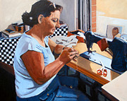 Sewing Paintings - Kydrete The Seamstress by Deb Putnam