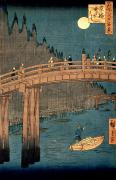 Moonlight Posters - Kyoto bridge by moonlight Poster by Hiroshige
