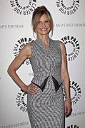 Checked Framed Prints - Kyra Sedgwick Wearing An Antonio Framed Print by Everett