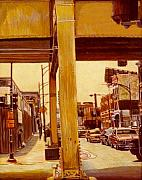 Egg Tempera Paintings - L tracks Chicago by Stuart Roddy