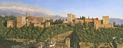 Landscape Greeting Card Painting Originals - La Alhambra Granada Spain by Richard Harpum