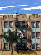 Los Angeles Mixed Media Prints - LA Apartment Building Print by Russell Pierce